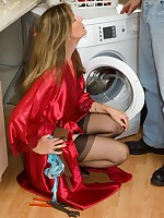 the plumber gets some nylon action - Vintage Milfs