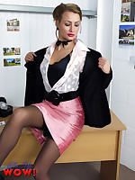 Estate agent Kelli Smith in pink miniskirt and black stockings becomes really.. - Granny Girdles
