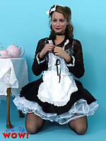 Naughty maid Kelli Smith wearing sexy white lingerie makes her tea serving as.. - Granny Girdles