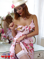 A sexy striptease by a cute blonde in a pretty summer dress, lingerie,.. - Granny Girdles