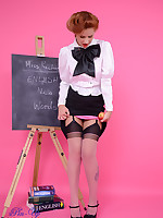 Strict teacher Elle Richie in black stocking stripteases to get a students.. - Granny Girdles
