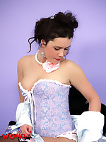 Hot brunette Marisa makes strip in black stockings and satin French knickers - Granny Girdles