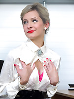 Office glamor girl Elle Richie in satin lingerie does everything to make her.. - Granny Girdles
