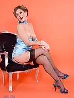 Gorgeous Elle Richie delivers a perfect striptease from sexy satin corset and.. - Granny Girdles