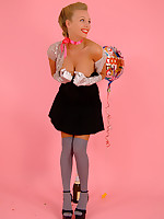 Heavenly blonde Hayley-Marie Coppin in knee-socks and baby doll skirt delivers.. - Granny Girdles