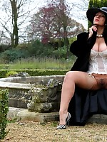 Danica Collins takes a walk and a wank in the garden - Granny Girdles