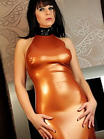 Sexy MILF Desyra Noir wrapped in a bronze dress | DesyraNoir.com